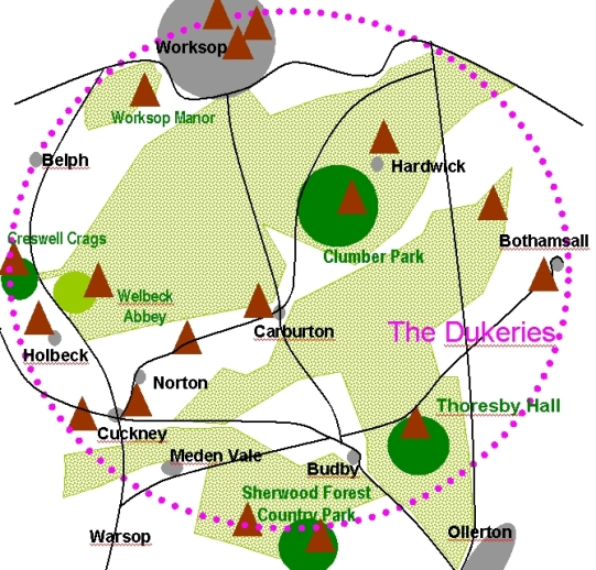 Clumber Park and the Dukeries map