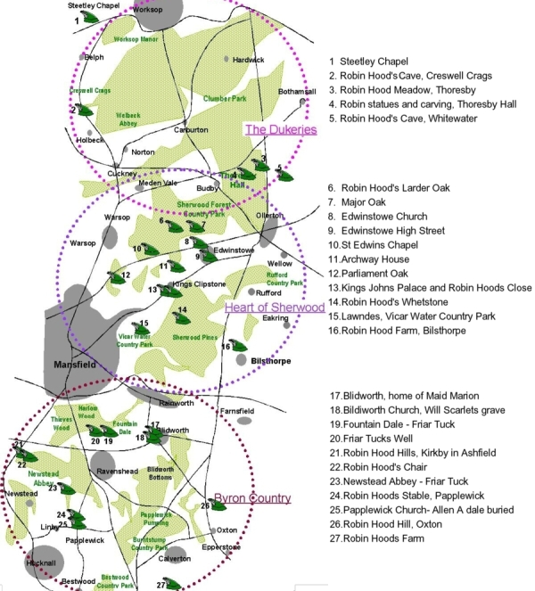 Map of Sherwood Forest Robin Hood places