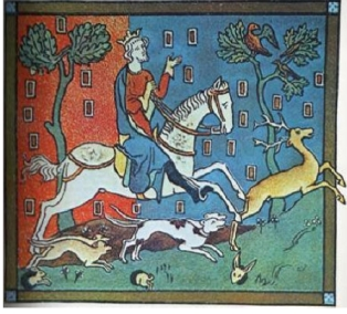Medieval Picture of King John hunting