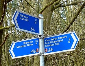 Sign post Southwell Trail and National Cycle Route 6 Sherwood Pines